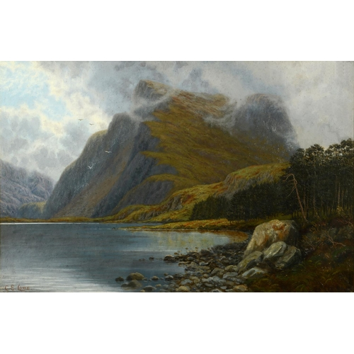 765 - G E Lowe, Cwm-Bychan Lake, North Wales, oil on canvas, signed, 49 x 74 cm See illustration...