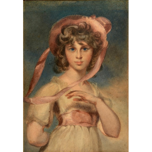 766 - English school, 19th century, a half length portrait of a young girl wearing a hat, watercolour, 62 ...