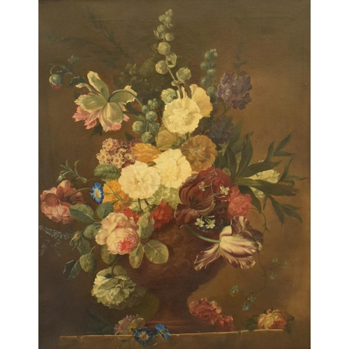 768 - English school, a still life of flowers in a bowl, oil on canvas, 74.5 x 59.5 cm...