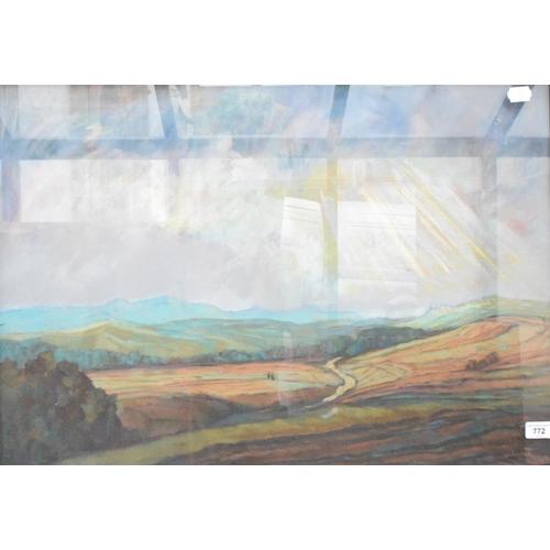 772 - Thiel (?), a landscape, pastel, indistinctly signed 51 x 72 cm...