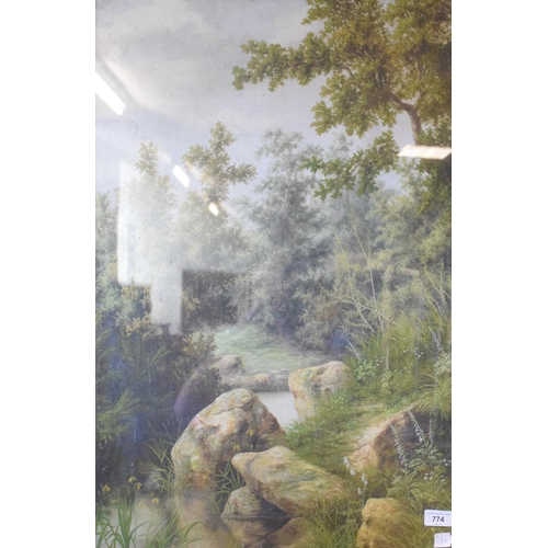774 - English school, late 19th/early 20th century, a pond scene, oil on canvas, 75 x 49 cm...