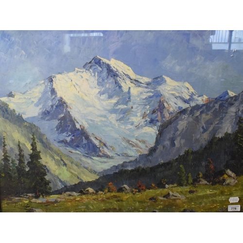 778 - Continental school, an alpine landscape, oil on canvas, indistinctly signed, 57 x 77 cm...