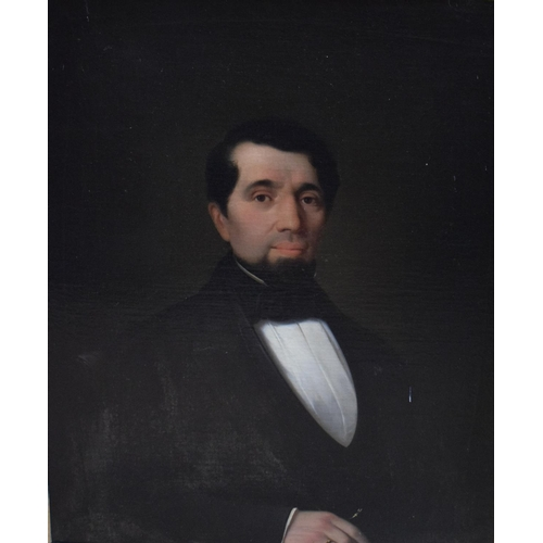 781 - English school, 19th century, a head and shoulders portrait of a gentleman wearing black tie, oil on...