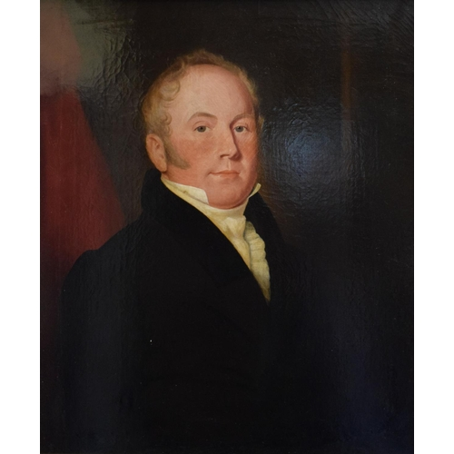 782 - English school, 19th century, a head and shoulders portrait of a gentleman wearing a cravat, oil on ...