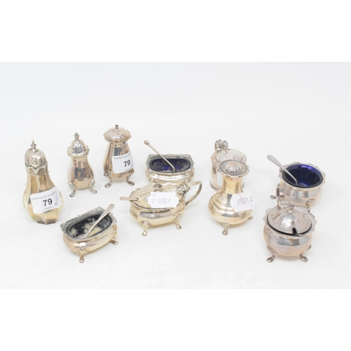 79 - Assorted silver condiments (qty)...