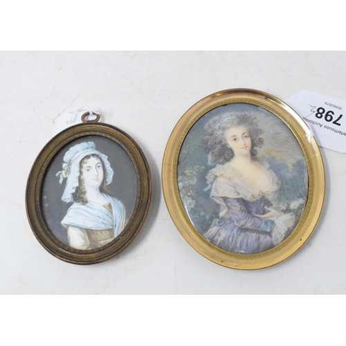 798 - A late 18th/early 19th century oval portrait miniature, of a seated lady with a blue ribbon in her h...