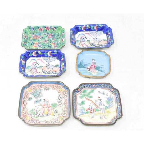 799 - A pair of Chinese export enamel dishes, decorated figures in landscapes, 10 cm wide, and four others...