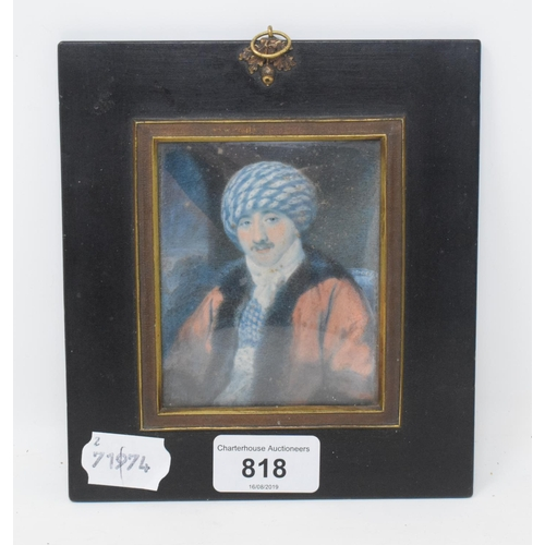 818 - A 19th century half length portrait miniature of a gentleman wearing a hat with a moustache, waterco...