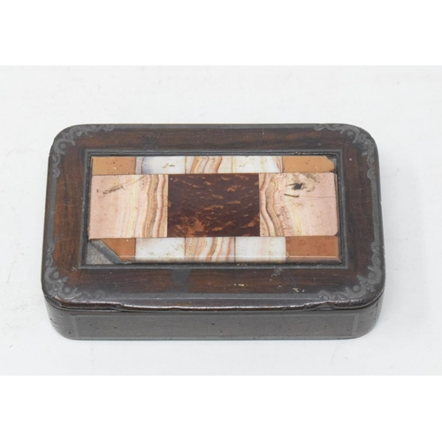 821 - A snuff box, the cover inset a hardstone panel (damaged), 10.5 cm wide...