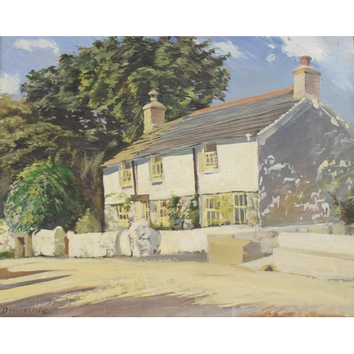 824 - J R Donnachie View of a White Cottage Goldsithney, Cornwall, oil on artist board, signed, inscribed ...