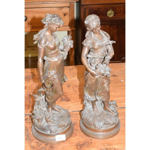 832 - A pair of spelter figures, after Moreau, ladies with flowers, 45 cm high (2)...