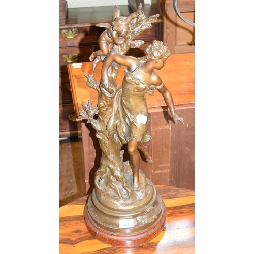 833 - A spelter figure, after Moreau, L'Indiscret, on a faux marble base, 58 cm high...