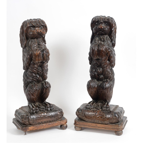 881 - A pair of late 19th century Black Forest carved wood door porters, in the form of standing dogs, 76 ...