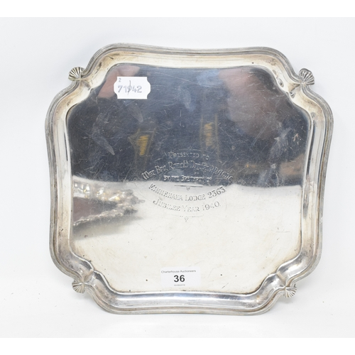 36 - EXTRA LOT: A George VI silver salver, of shaped square form, with Masonic inscription, Sheffield 193...