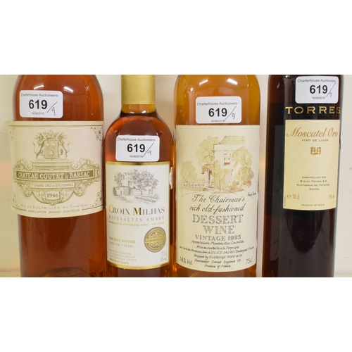 619 - A bottle of Chateau Coutet a Barsac Premier Grand Cru De Sauternes, 1966, and eight other pudding wi...