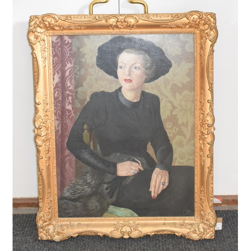 835 - English school, mid 20th century, a portrait of a lady wearing a green dress, initialled and dated 1...