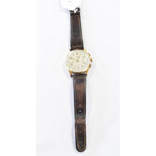 283 - A gentleman's 18ct gold Jollis chronograph wristwatch, with Arabic numerals and two subsidiary dials...