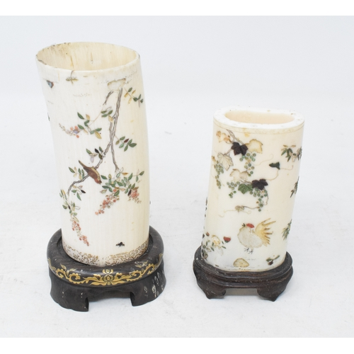 803 - A Japanese ivory tusk section, with Shibayama type inlaid decoration in the form of birds and insect...