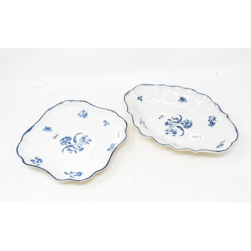564 - An 18th century Worcester porcelain Gilly flower pattern dish, of shaped oval form, 27 cm wide, and ...