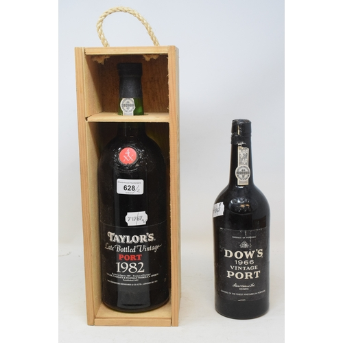628 - **Amendment** A magnum of Taylor's late bottled vintage port, 1982, in own wooden case, and a bottle...
