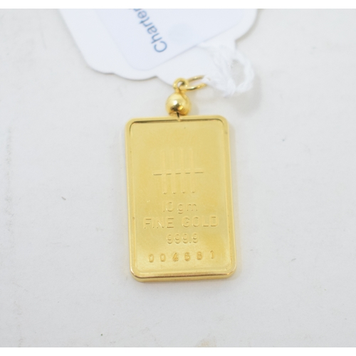340 - An 18ct gold Johnson Matthey ingot, approx. 11 g (all in), and a 14ct gold pendant, approx. 7.2 g (2...