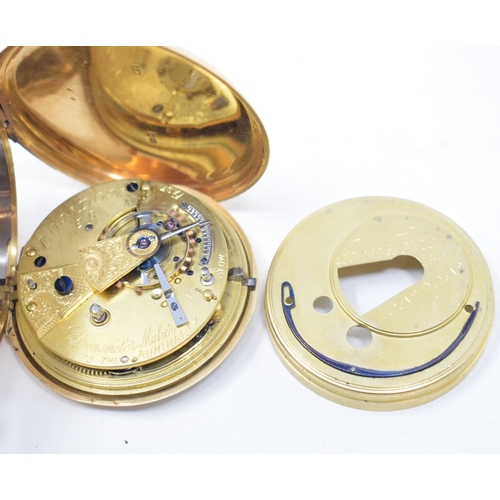 273 - An 18ct gold hunter pocket watch, monogrammed, the enamel dial signed John Forrest, London See illus...