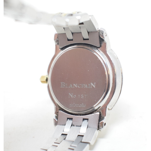 285 - A lady's stainless steel Blancpain automatic wristwatch, with date aperture and chain link strap See...