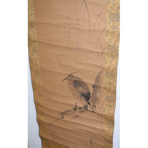 738 - A Japanese scroll, decorated a crow, watercolour, 33 x 133 cm, and another, boxed (2)...