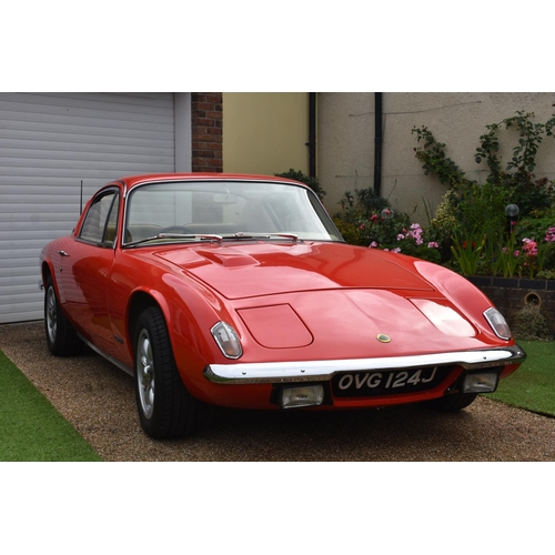 28 - A 1969 Lotus Elan Plus 2, registration number OVG 124J, carnival red. Introducted by Lotus in 1967 t...