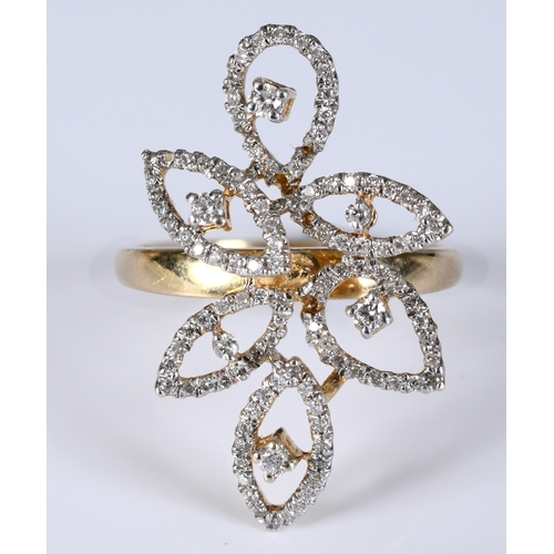 160 - A 14ct gold and diamond flowerhead style ring, approx. ring size N...
