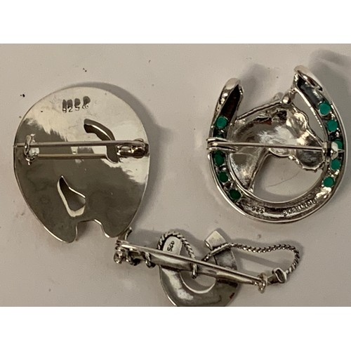 453 - Three silver horseshoe/hunt brooches