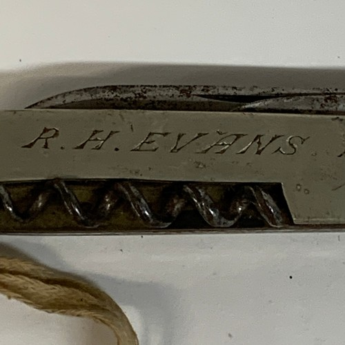 438 - A late 19th century penknife, inscribed R H Evans from 'G G A Octr 31-1891', 15 cm over loop