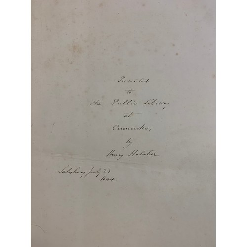 409 - Hatcher (Henry) The History of Modern Wiltshire, Old and New Sarum or Salisbury, 1843, end paper ins...