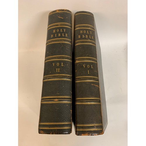 411 - The Holy Bible with a Devotional and Practical Commentary, illus, 2 volumes, leather, spines rubbed ...
