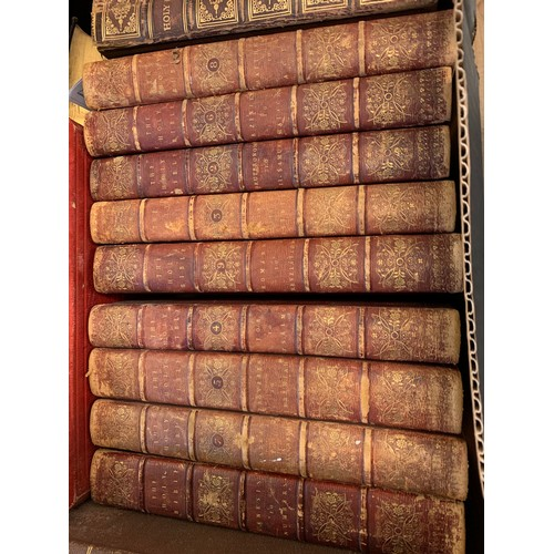 412 - The Holy Bible, containing the Old Testament and The New, 1802, nine vols, gilt dec leather, and oth...