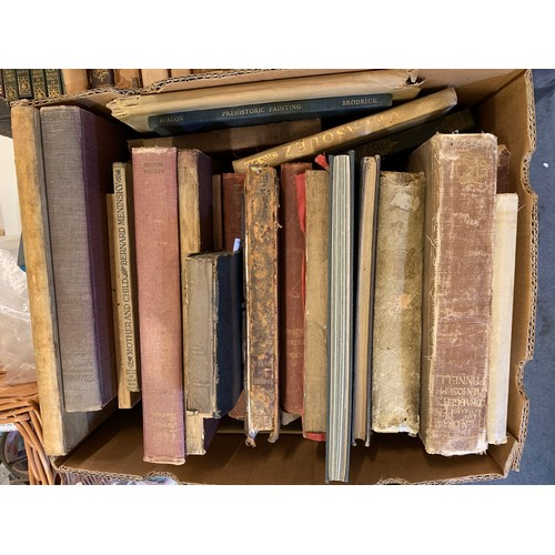 413 - Assorted leather bindings, and other volumes (2 boxes)