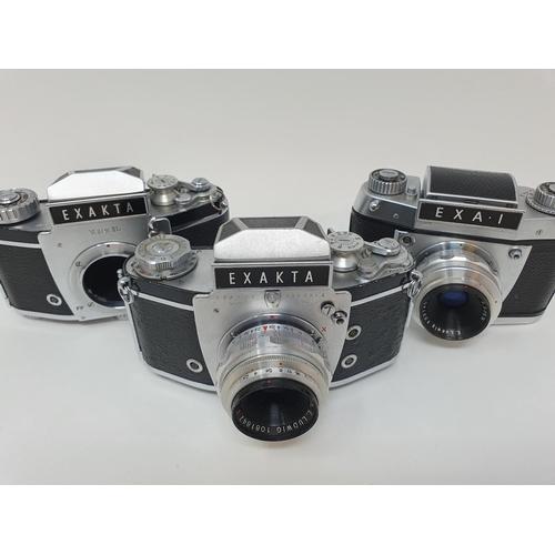 14 - An Exakta Varex IIa camera, Varex IIb camera body, and an Exa. I (3)  Provenance: Part of a vast sin...