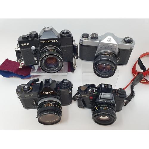 15 - A Pentax Program A camera, Pentax SP 1000 camera, a Praktica EE 2, and a Canon EF camera (4)  Proven...