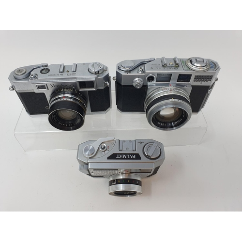27 - A Yashica 35 camera, serial number 38106086, an Aires 35-V camera, and a Palmat (3)  Provenance: Par...