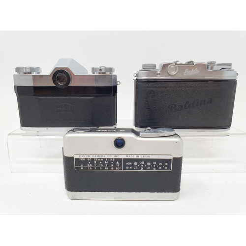 44 - A Zeiss Ikon contaflex camera and a Balda camera and a Canon Demi zero camera (3)  Provenance: Part ...