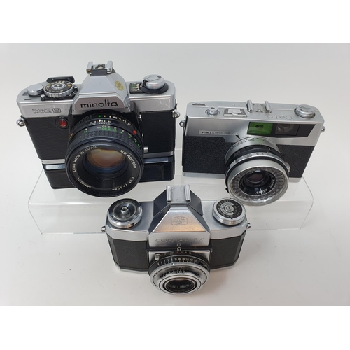 45 - A Zeiss Ikon contaflex camera, a Minolta XG9 camera and a Petri 7S camera (3)  Provenance: Part of a...