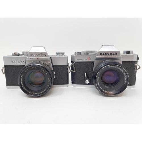 55 - A Konica Autoflex T3 camera and a Minolta SRT 101 camera (2)  Provenance: Part of a vast single owne...
