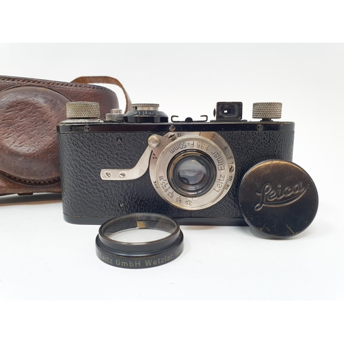7 - A Leica I camera, serial number 46523, with leather outer case  Provenance:  Part of a vast single o...