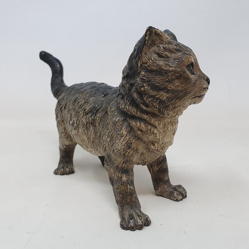 442 - A late 19th/early 20th century Austrian cold painted bronze cat, 11.5 cm high x 18 cm long