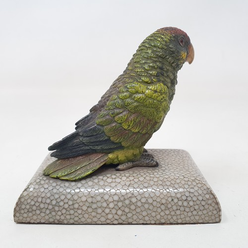 444 - An early 20th century desk weight, in the form of a cold painted bronze parrot, on a shagreen mounte...