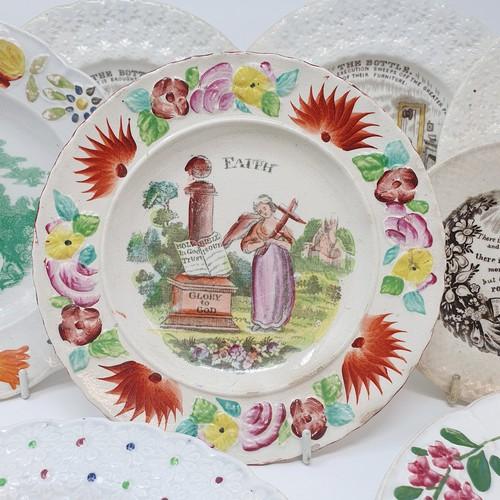 20 - A 19th century nursery plate, Faith, 17 cm diameter, and six other 19th century nursery plates (8)