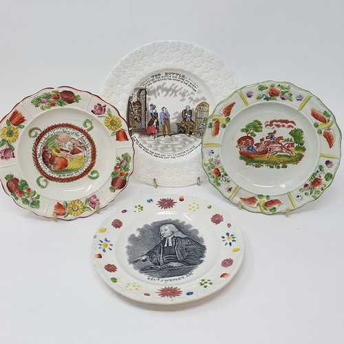 23 - A 19th century nursery plate, Rev J Wesley, 17 cm diameter, and three other nursery plates (4)