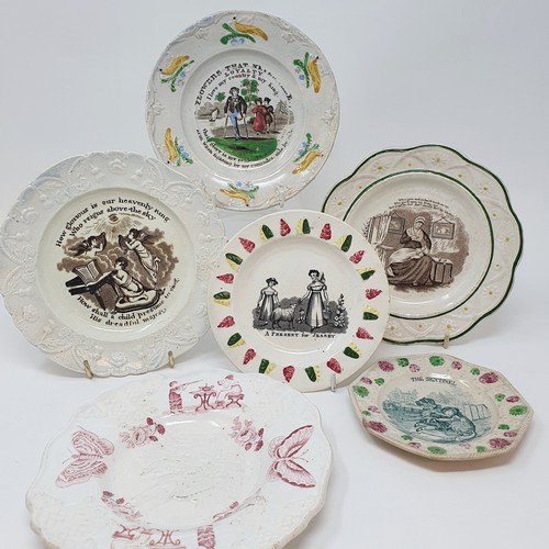 25 - A 19th century nursery plate, A Present for Jessey, 13 cm diameter, and five other nursery plates (6...