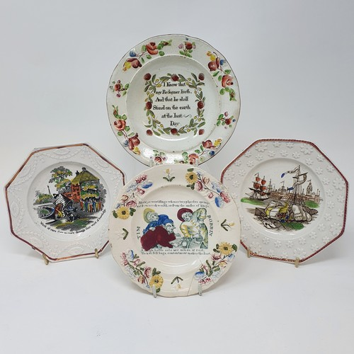 26 - A 19th century nursery plate, Tim Bobbin, 14 cm diameter, and three other nursery plates (4)