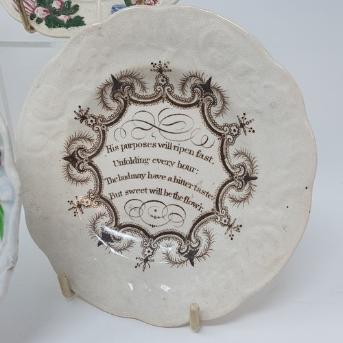 28 - A 19th century nursery plate, The Pious Grandfather, 15 cm diameter, and four other nursery plates (...